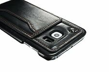 Samsung Galaxy S6 Edge - Black Leather Credit Card Wallet Hard Fitted Case Cover