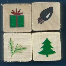 GIFT BOX LIGHTBULB PINE BRANCH TREE HOLIDAY MINI LOT wood mount RUBBER STAMPS