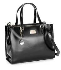 $395 New DKNY Hudson Cow Leather Double Zip Work Shopper Tote Black Large