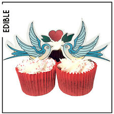 Swallow birds & heart Stand up Edible Cupcake Toppers | Valentine | Wedding Love