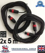Speakon to Speakon 5m HEAVY DUTY 7mm Cable 2x5m with Red NL4fc Plugs (PAIR) BSC6