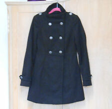 LADIES GEORGE MILITARY STYLE BLACK COAT WITH SILVER BUTTONS HIGH NECK UK 6 - 8