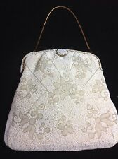 WALBORG COLLECTIBLE BEADED BY HAND FRANCE W/COIN PURSE & MIRROR WEDDING EVENING