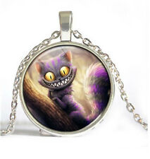 New cat Cabochon Tibetan silver Glass Chain Pendant Necklace #/