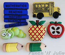 BOOK WORM - Children School Lessons Apple Bus Teacher Dress It Up Craft Buttons