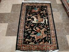 AWESOME 3 HORSES KING HUNTING HAND KNOTTED RUG FINE CARPET 4x2.6 FB-2677 RARE