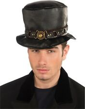 Deluxe Mens Womens Steampunk Black Costume Belted Faux Leather Top Hat