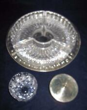 Silver Tray, 4-Part Divided Crystal with Optional Metal Insert