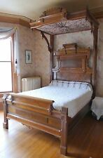 Antique Victorian Walnut Burl 1/2 Tester Eastlake Canopy Bed c. 1875 Ornate