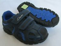 BNIB Clarks Boys Brite Time Navy Blue Leather Lights First Shoes F/G/H Fitting