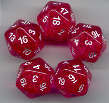 RPG Dice Set of 5 D20 - Glitter Red
