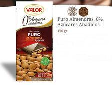 VALOR SUGAR & GLUTEN FREE Dark CHOCOLATE 52% & ALMONDS 150gr / 5.29oz x 5 bars