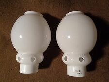 "2 Antique WELSBACH ? Q OPAL White Glass LAMP CHIMNEYS Vented 2"" fit gas gallery?"