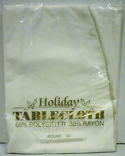 """Off White Gold Stitching Holiday Tablecloth 65% Polyester 35% Rayon 60"""" Round"""
