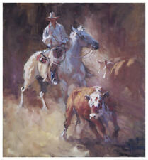 HORSE ART PRINT - Sorting by Suzanne Baker Western Cowboy Poster 27x29
