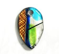 Huge Lampwork Fused Dichroic Silver GOLD Glass Pendant