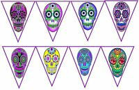 Halloween Sugar Skulls Day of the Dead 8 banner party decoration