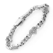 Heart Bracelet W/ Genuine Diamond Crafted in 925 Silver