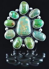 Navajo Sterling Silver Rare Stone Mountain Cluster Turquoise Ring Andy Cadman