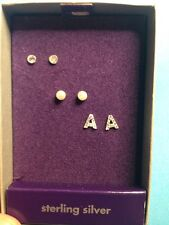 New Claire's Sterling Silver Three Earring Box Set Initial A Stud Ball