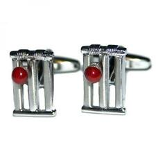 Wicket & Red Cricket Ball Cufflinks Cricketer Umpire Cruise Present Gift Box