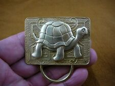 (E-472) Galapagos turtle on rectangle brass Eyeglass pin pendant ID badge holder