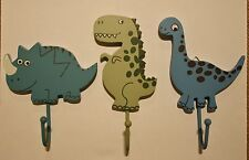 Set of 3 Dinosaur Hooks T Rex, Triceratops, Diplodocus Childrens  Coat Bedroom