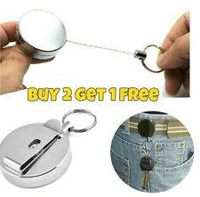 Silver Retractable Key Chain Recoil Steel Wire Cord Pull Ring Belt Keyring