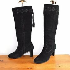Black 100% Real Leather NEW LOOK Pull On Embroidered Tassel Boots Size UK 7 EU40