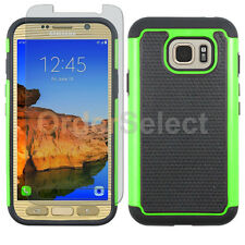 Hybrid Rugged Rubber Case+LCD HD Screen Guard for Samsung Galaxy S7 Active Green