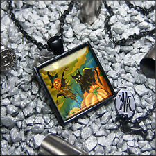Black Kitty Cat and Scarecrow Black Glass Haunted Halloween Pendant Necklace