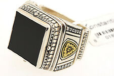 Konstantino Sterling Silver Bronze Onyx Square Signet Ring Band sz 10.25 $505