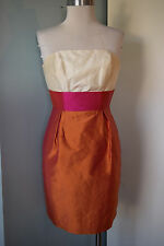 Lula Kate 100% Silk Strapless cocktail Formal dress color block Orange Pink 00
