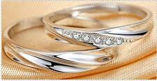 Lovers Couple Rings Interleaving ring Silver diamond wedding ring Free Engraving