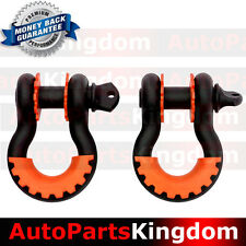 "1Pair 3/4"" Black 4.75 ton D-ring Shackle+Orange Isolator Washers Silencer Clevis"