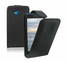 BLACK Leather Flip Case Cover Pouch For Nokia Microsoft Lumia 640 Dual Sim LTE