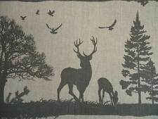 Designer Curtain Fabric French Stag Silhouette Linen Black On Natural By The Mtr