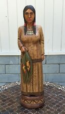 "John Gallagher Carved Wooden Cigar Store Indian 31"" Tall Corn Maiden in Stock !"