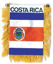 BANDERA COSTA RICA MINI BANNER FLAG with BRASS STAFF & SUCTION CUP