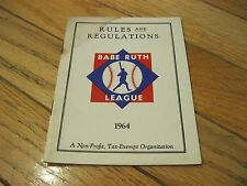 1964 Rules and Regulations Babe Ruth League Pamhlet