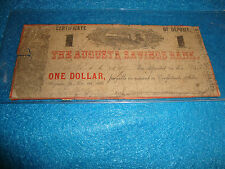 1861 Certificate Of Deposit * The Augusta Savings Bank * One Dollar *Dec. 9th 18