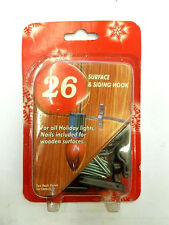 26pc SURFACE & SIDING HOOKS CLIPS CHRISTMAS LIGHTS NAILS INCLUDED FOR WOOD
