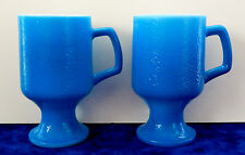 2 vintage blue milk glass Anchor Hocking Fire King mug cup pedestal footed