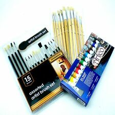 ARTISTS OIL PAINTS AND BRUSHES SET FINE TIP MIXED ART COLOR PAINTERS OILS TUBES