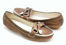 New GEOX D Erin Leather Loafer Moc Flat Driving Slip-On Shoe ~Bronze *36.5/6.5