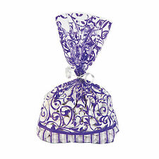 60 PURPLE Swirl cello cellophane candy buffet BAGS Party supplies favors