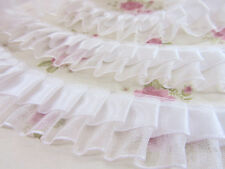 "5 yards Satin/Organza Double Layer 1"" Pleated Ruffle Lace Trim/Sewing T195-White"