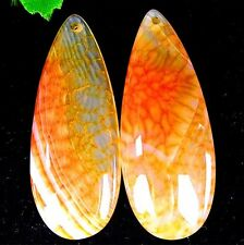 2Pcs Beautiful Nice Orange Dragon Veins Agate Teardrop Carved Pendant  DD342