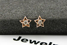 14K/14ct Rose Gold Plated Cute Hollow Carved Star Crystal Stud Earrings Gift