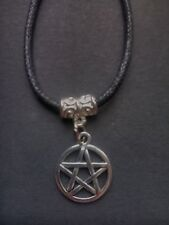 Black waxed cord  Pentagram Pentacle Choker / necklace Wiccan Pagan Gothic